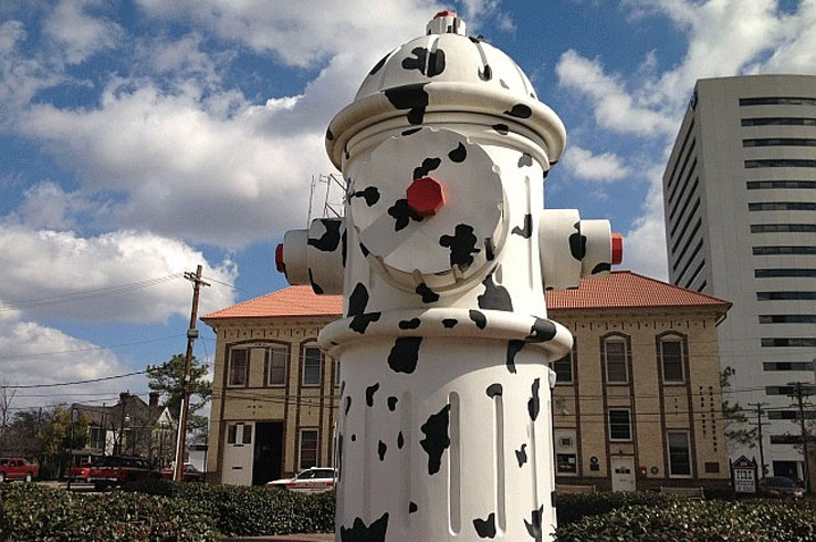The 24-foot-tall Dalmatian Fire Hydrant towers above a plaza near the Fire Museum of Texas  in Beaumont.