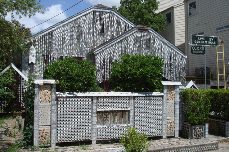 The famous Beer Can House is a Houston-area house covered in beer cans.