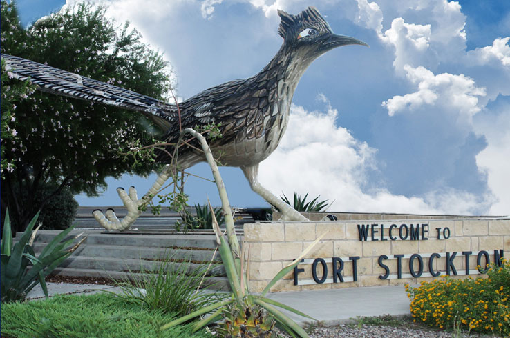 The roadrunner in Fort Stockton greets travelers as they drive through the middle of town.