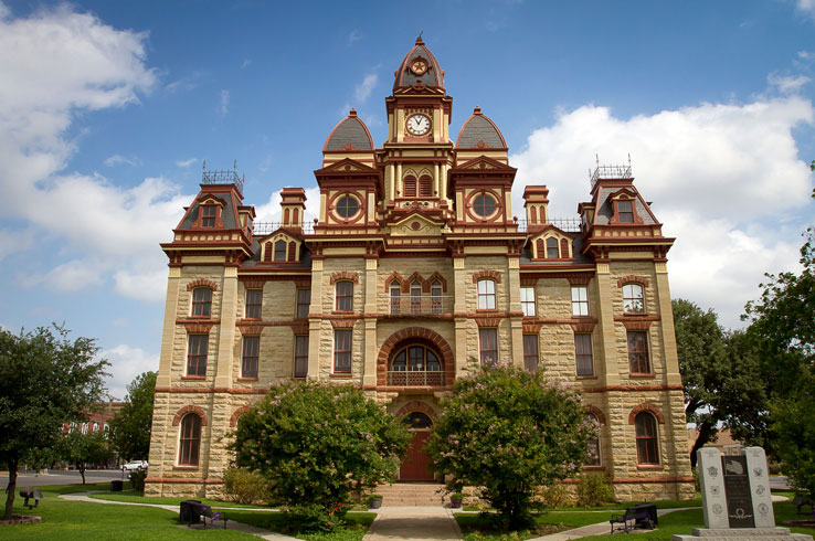 The extravagant Caldwell County Courthouse in Lockhart, Texas.