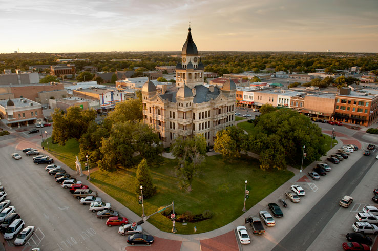 Denton's famous square is occupied by one of the most eclectic courthouses in Texas, the old Denton County Courthouse.