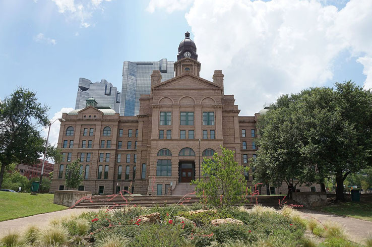 Texas pink granite was used to make build the Tarrant County Courthouse, which was modeled after the capitol in Austin.