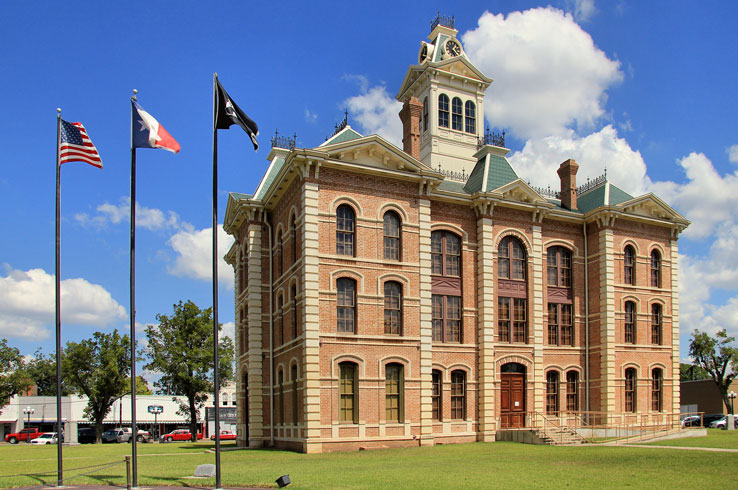The Wharton County Courthouse is a fine example of Second Empire architecture.