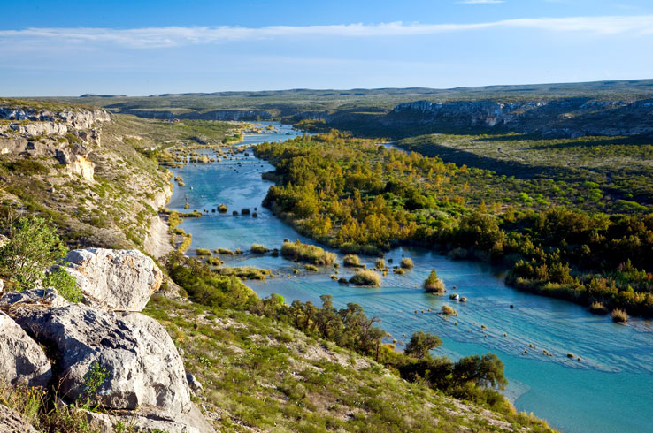 The Devil's River kayaking and paddling trail is a nearly 50-mile excursion through one of the most remote regions in Texas.