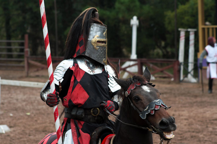 A knight riding horseback prepares for a jousting performance at the Texas Renaissance Festival in Todd Mission.