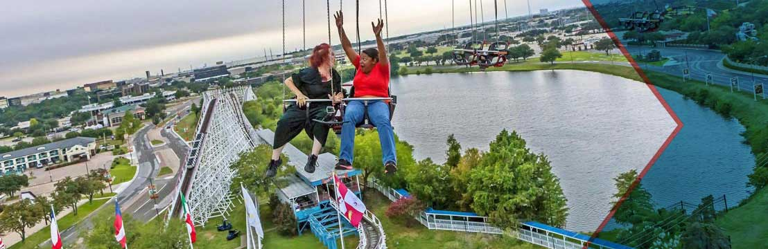 With over 40 thrilling rides, spectacular shows, and delicious food around every corner, Six Flags Over Texas is the land of nonstop fun. Conveniently located halfway between Dallas and Fort Worth, the amusement park offers something for everyone in your group.